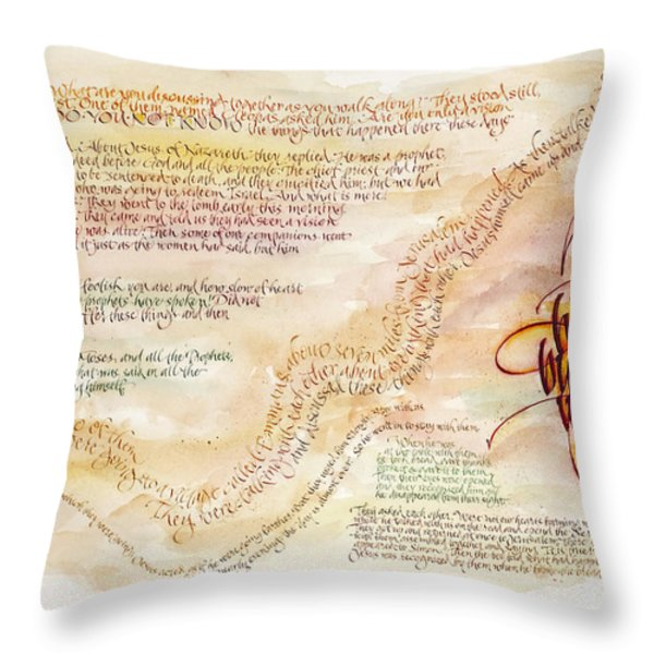 Emmaus Throw Pillow by Judy Dodds