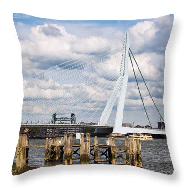 Erasmus Bridge in Rotterdam Throw Pillow by Artur Bogacki