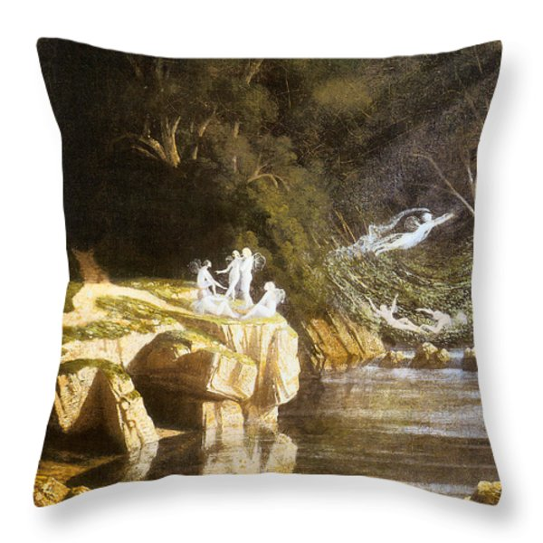 Fairies by a Rocky Stream Throw Pillow by Francis Danby