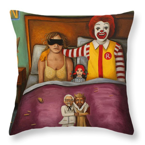 Fast Food Nightmare Throw Pillow by Leah Saulnier The Painting Maniac