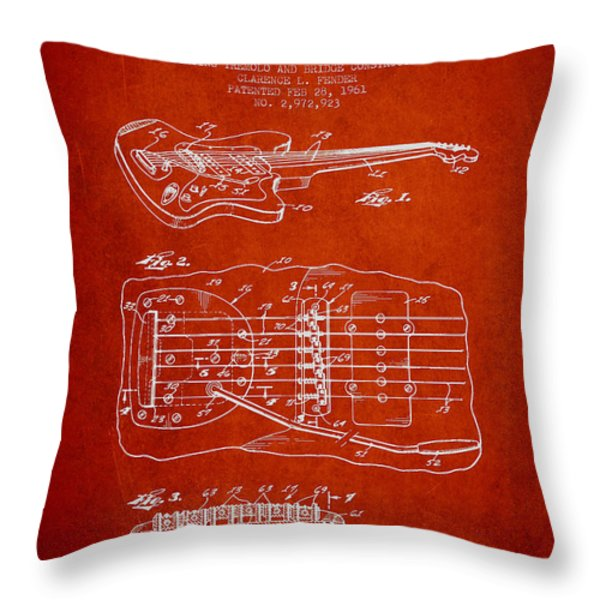 Fender Floating Tremolo patent Drawing from 1961 - Red Throw Pillow by Aged Pixel