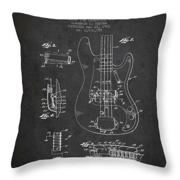 Fender Guitar Patent Drawing from 1961 Throw Pillow by Aged Pixel