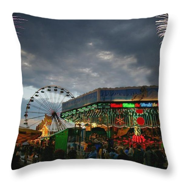 Fireworks At An Amusement Park Throw Pillow by Darren Greenwood