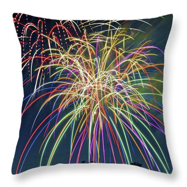 Fireworks Throw Pillow by Michael Shake