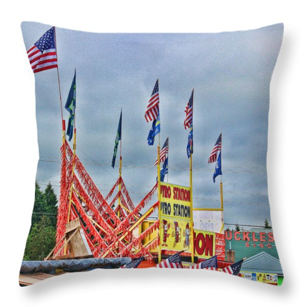 Fireworks Stand Throw Pillow by Cathy Anderson