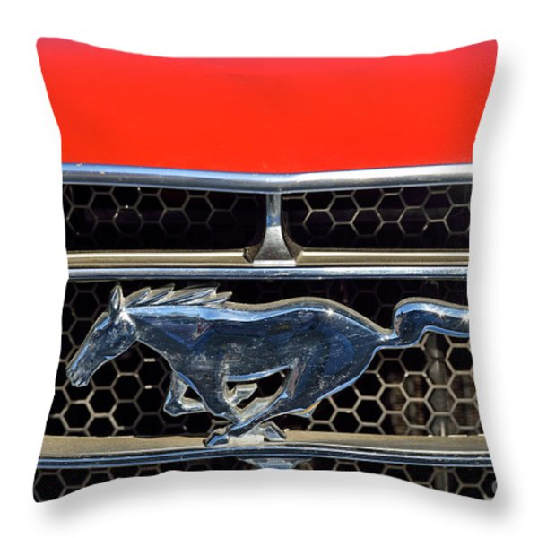 Ford Mustang Badge Throw Pillow by George Atsametakis