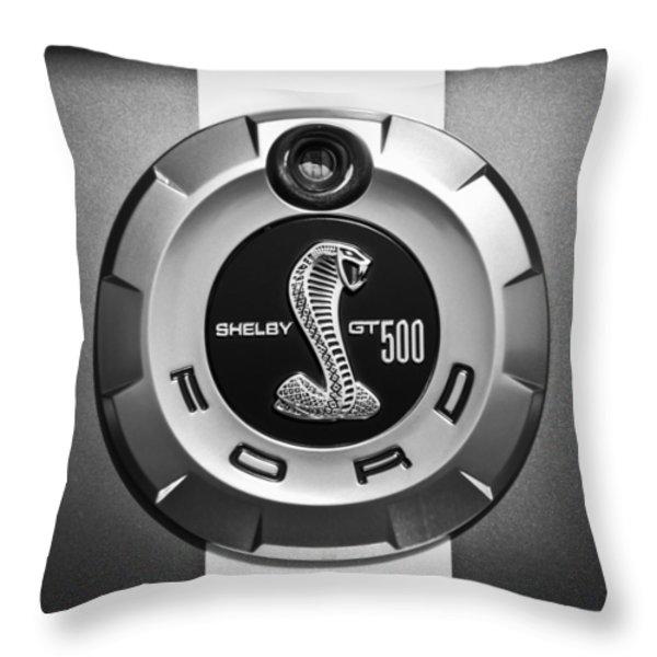 Ford Shelby Gt 500 Cobra Emblem Throw Pillow by Jill Reger