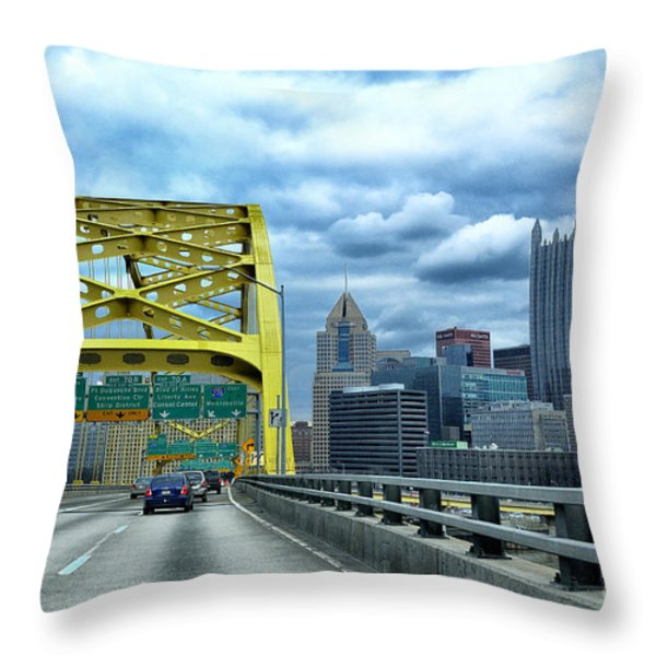 Fort Pitt Bridge And Downtown Pittsburgh Throw Pillow by Thomas R Fletcher