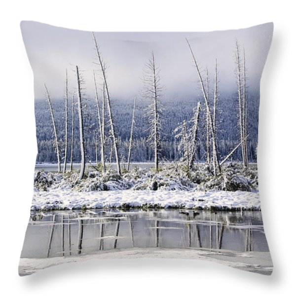 Fresh Snowfall And Bare Trees Throw Pillow by Ken Gillespie