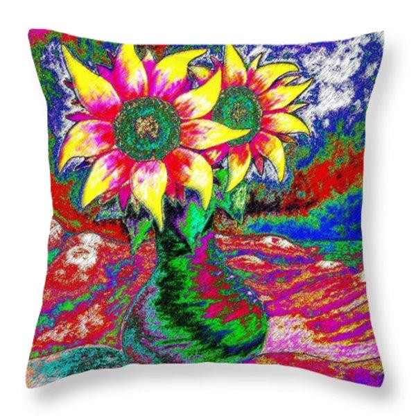 Funky Sunflowers Throw Pillow by Annie Zeno