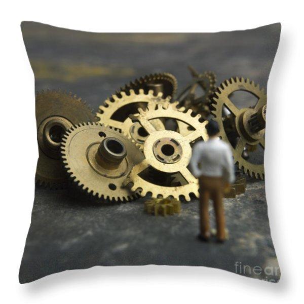 Gears Throw Pillow by Bernard Jaubert
