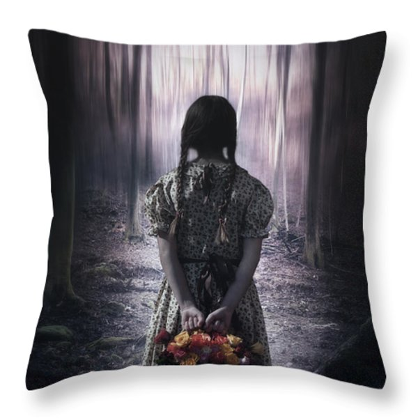 girl in the woods Throw Pillow by Joana Kruse
