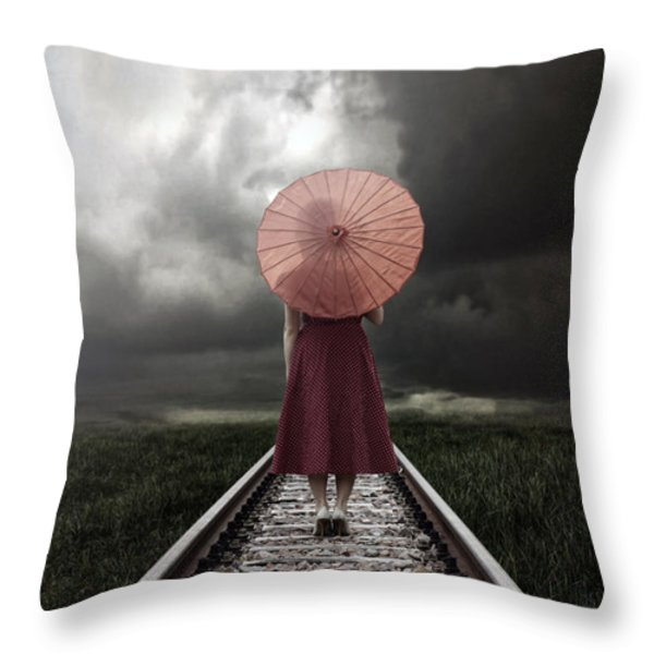 girl on tracks Throw Pillow by Joana Kruse