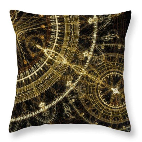 Golden abstract circle fractal Throw Pillow by Martin Capek