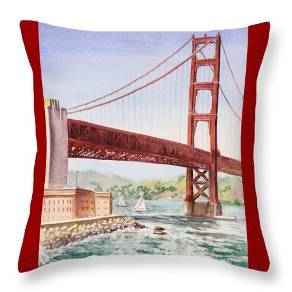 Golden Gate Bridge San Francisco Throw Pillow by Irina Sztukowski