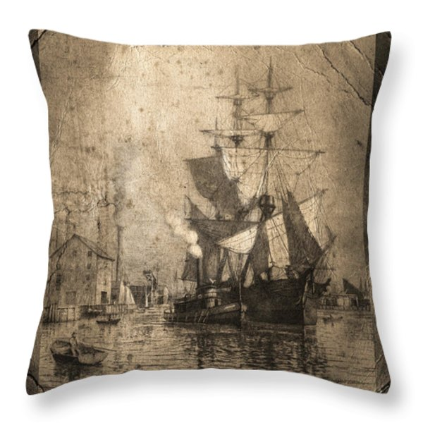 Grungy Historic Seaport Schooner Throw Pillow by John Stephens