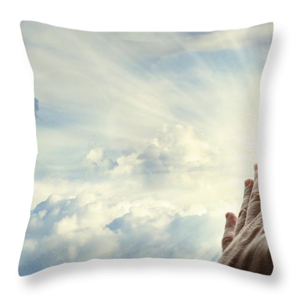 Hands in sky Throw Pillow by Les Cunliffe