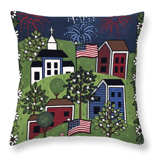 Happy 4th Of July Throw Pillow by Medana Gabbard