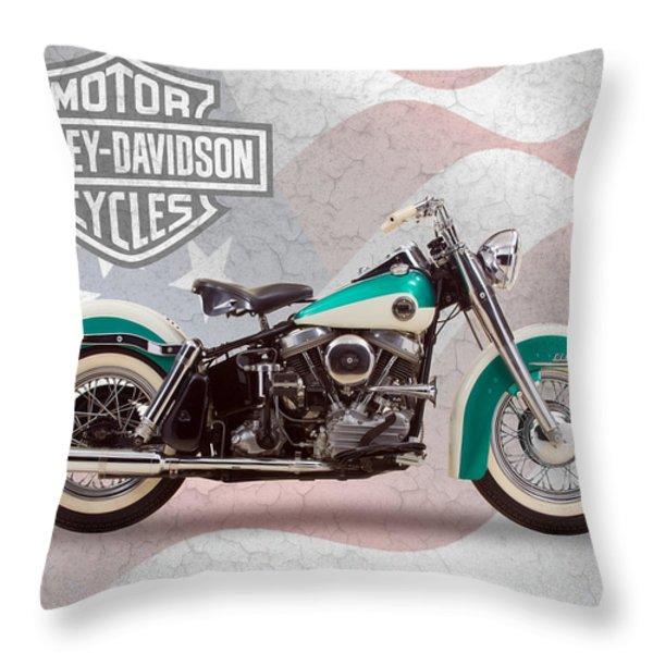 Harley-Davidson Duo-Glide Throw Pillow by Mark Rogan