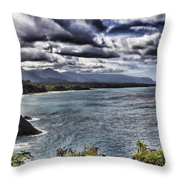 Hawaii Big Island Coastline V2 Throw Pillow by Douglas Barnard