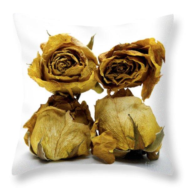 Heap of wilted roses Throw Pillow by BERNARD JAUBERT