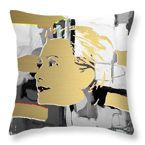 Hillary Clinton Gold Series Throw Pillow by Marvin Blaine