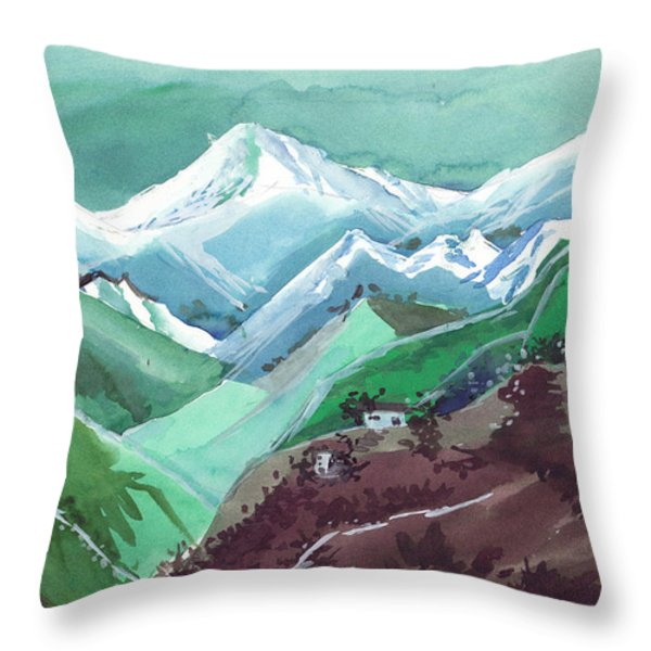Himalaya 2 Throw Pillow by Anil Nene