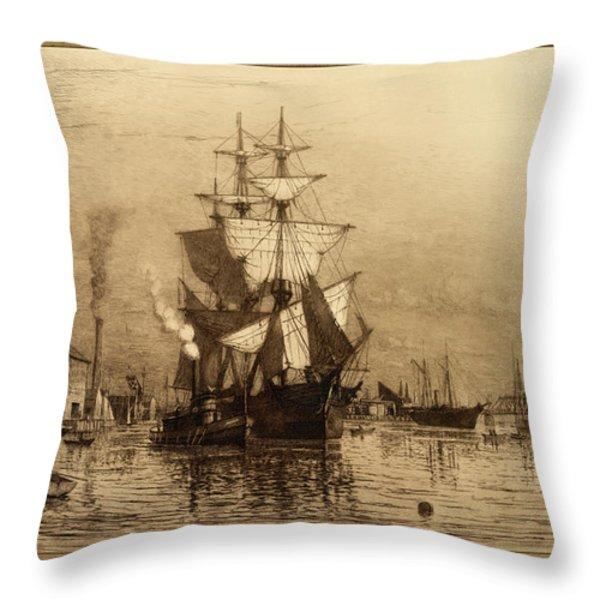 Historic Seaport Schooner Throw Pillow by John Stephens