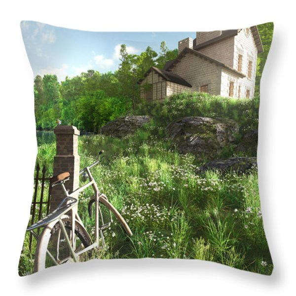 House On The Hill Throw Pillow by Cynthia Decker