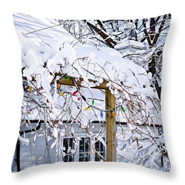 House under snow Throw Pillow by Elena Elisseeva