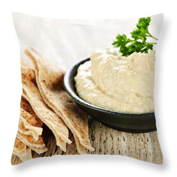 Hummus With Pita Bread Throw Pillow by Elena Elisseeva