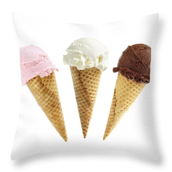 Ice cream in sugar cones Throw Pillow by Elena Elisseeva