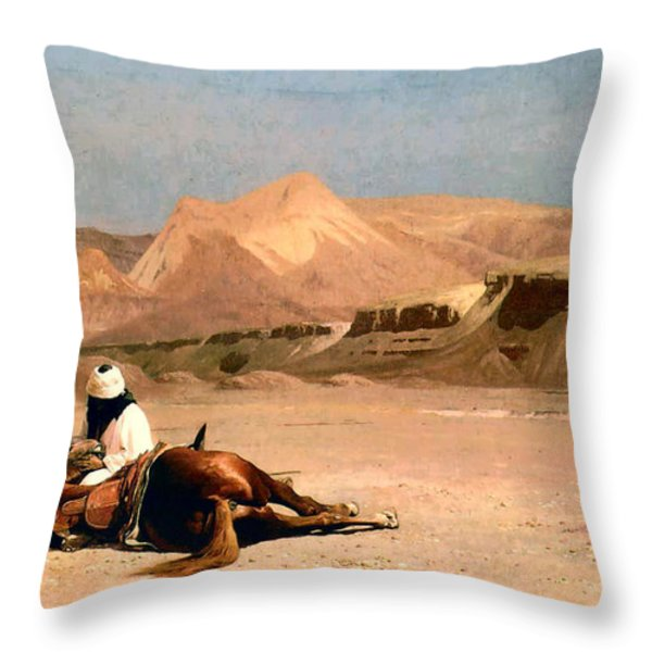 In the Desert Throw Pillow by Jean-Leon Gerome