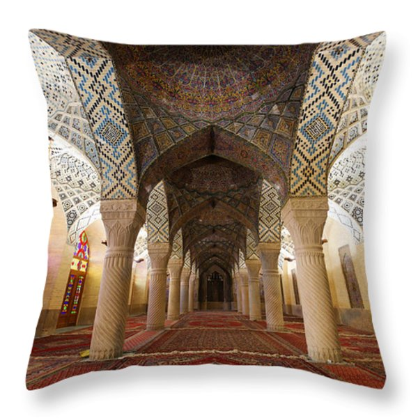 Interior Of The Winter Prayer Hall Of The Nazir Ul Mulk Mosque In Shiraz Iran Throw Pillow by Robert Preston