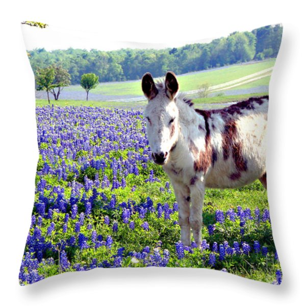 Jesus Donkey In Bluebonnets Throw Pillow by Linda Cox