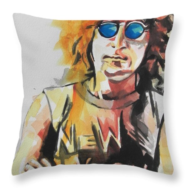 John Lennon 04 Throw Pillow by Chrisann Ellis
