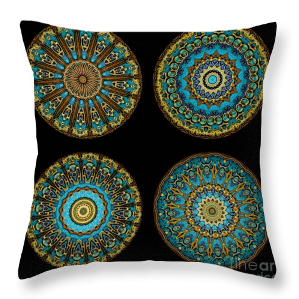 Kaleidoscope Steampunk Series Montage Throw Pillow by Amy Cicconi