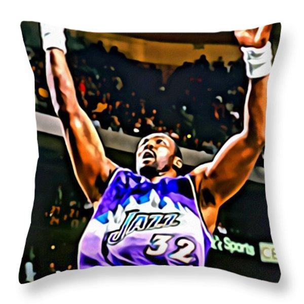 Karl Malone Throw Pillow by Florian Rodarte