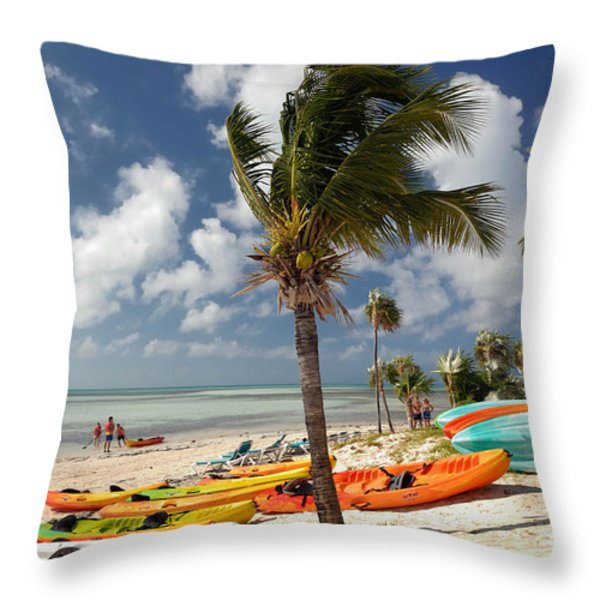 Kayaks On The Beach Throw Pillow by Amy Cicconi