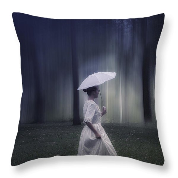 lady in the woods Throw Pillow by Joana Kruse