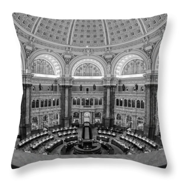 Library Of Congress Main Reading Room Throw Pillow by Susan Candelario