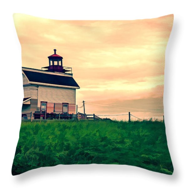 Lighthouse Prince Edward Island Throw Pillow by Edward Fielding