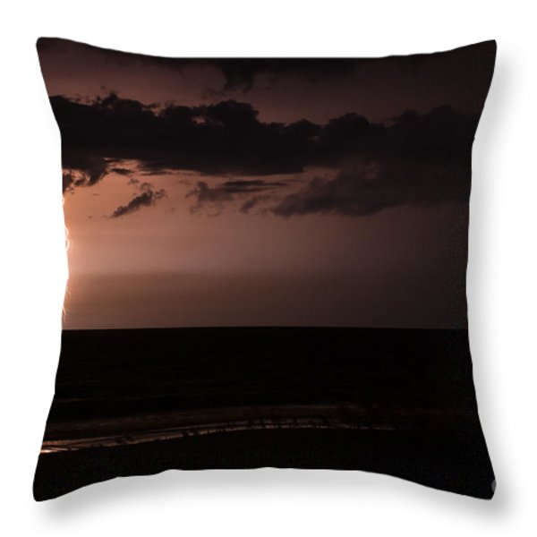 Lightning Over The Ocean Throw Pillow by Dawna  Moore Photography