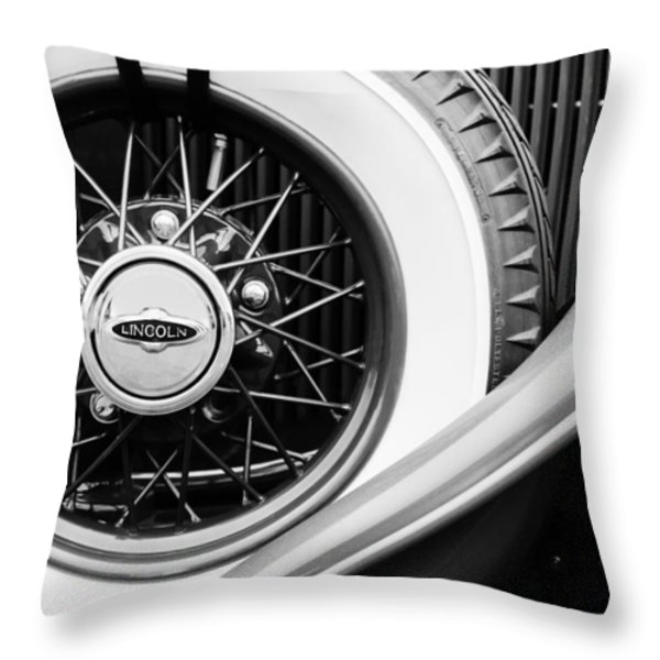 Lincoln Spare Tire Emblem Throw Pillow by Jill Reger