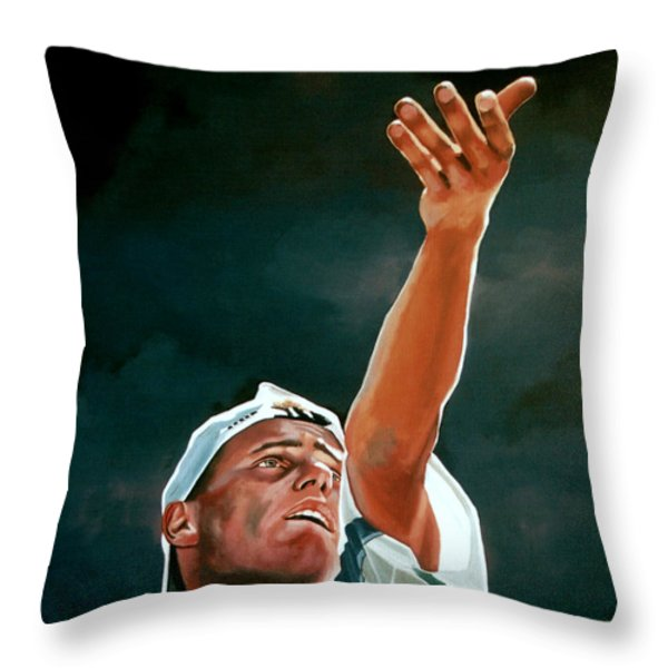 Lleyton Hewitt Throw Pillow by Paul Meijering