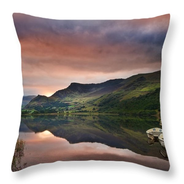 Llyn Nantlle at sunrise looking towards mist shrouded Mount Snow Throw Pillow by Matthew Gibson