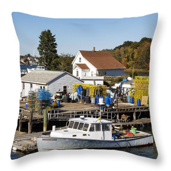 Lobster Boat Throw Pillow by John Greim