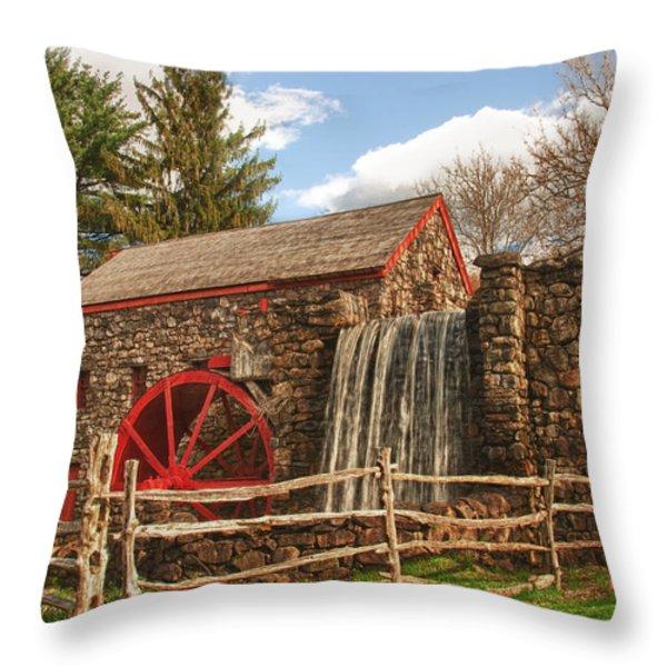 Longfellow's Wayside Inn grist mill Throw Pillow by Jeff Folger