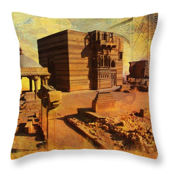 Makli Hill Throw Pillow by Catf
