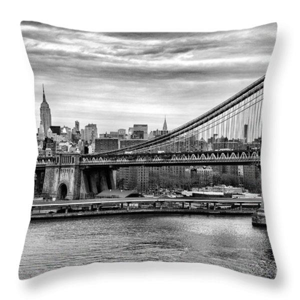 Manhattan bridge Throw Pillow by John Farnan